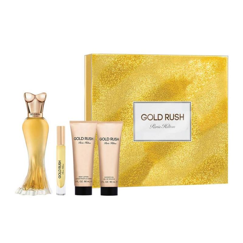 GIFT/SET PARIS HILTON GOLD RUSH BY PARIS HILTON 4 PCS.  3.4 FL