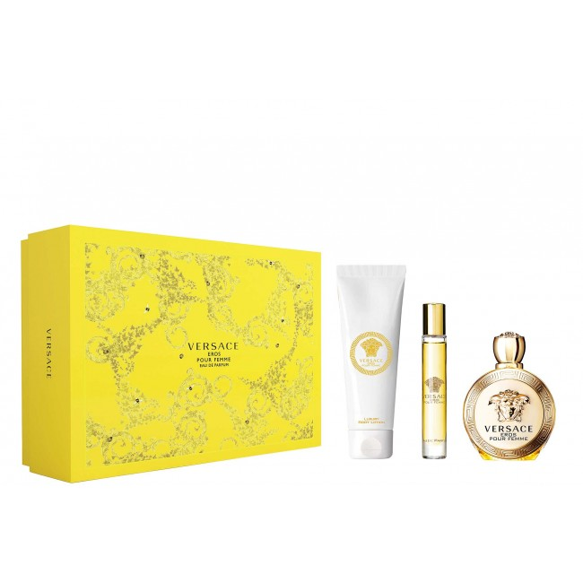 VERSACE EROS POUR FEMME 3PCS SET [100ML EDP SPRAY+ 150 ML BODY LOTION +