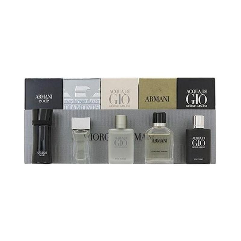 ARMANI 5PC MINI SET: DIAMONDS 4ML EDT, ATTITUDE 5ML EDT, ACQUA DI GIO 5ML EDT, CODE 4ML EDT, ARMANI 7ML EDT INDIVIDUALLY BOXED FOR MEN. DESIGNER:GIORGIO By  For