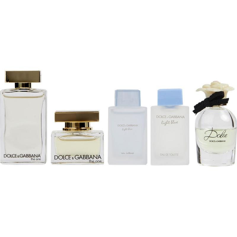DOLCE & GABBANA 5PC MINI SET: LIGHT BLUE EDT 4.5ML + ONE EDP 5ML + DOLCE EDP 5ML + THE ONE EDT 7.5ML + LIGHT BLUE EAU INTENSE EDP 4.5ML W. DEIGNER:DOLCE By  For