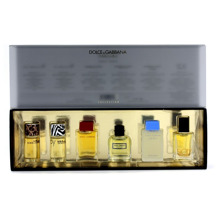 GIFT/SET DOLCE & GABBANA 6PCS.[MINIATURES SICILY+LIGHT BLUE+D&G MEN+BY MEN+BY WOMEN AND D&G ]WOMEN. DESIGNER:DOLCE GABBAN By DOLCE GABBANA For ]WOMEN