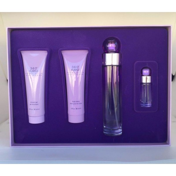 GIFT/SET 360 PURPLE BY PERRY ELLIS 4PCS.  3.4 FL