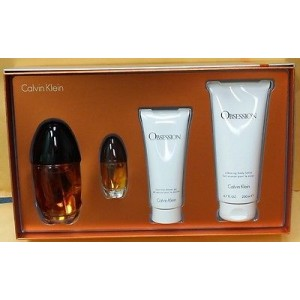 GIFT/SET OBSESSION 4PCS.(3.4 EDP SPRAY + 3. BY CALVIN KLEIN FOR WOMEN